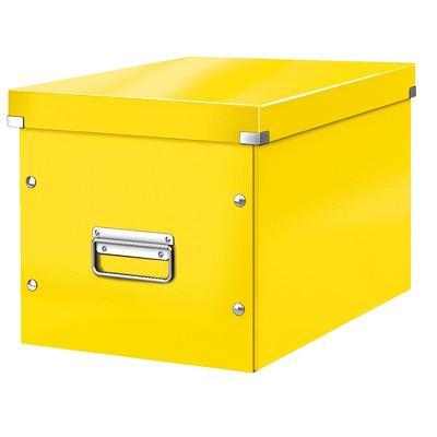 Cutie depozitare LEITZ WOW Click & Store, carton laminat, Cub, mare, galben