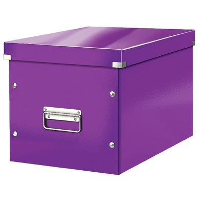 Cutie depozitare LEITZ WOW Click & Store, carton laminat, Cub, mare, mov