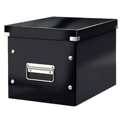 Cutie depozitare LEITZ WOW Click & Store, carton laminat, Cub, medie, negru
