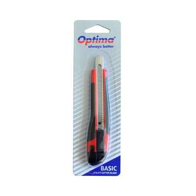 Cutter basic Optima, lama 9mm SK7, sina metalica, ABS cu rubber grip