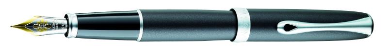 Diplomat Excellence A - Venetia Deep Black Matt Chrome - stilou cu penita M, aurita 14kt.