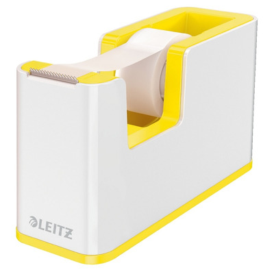 Dispenser banda adeziva LEITZ WOW, PS, banda inclusa, culori duale, alb-galben