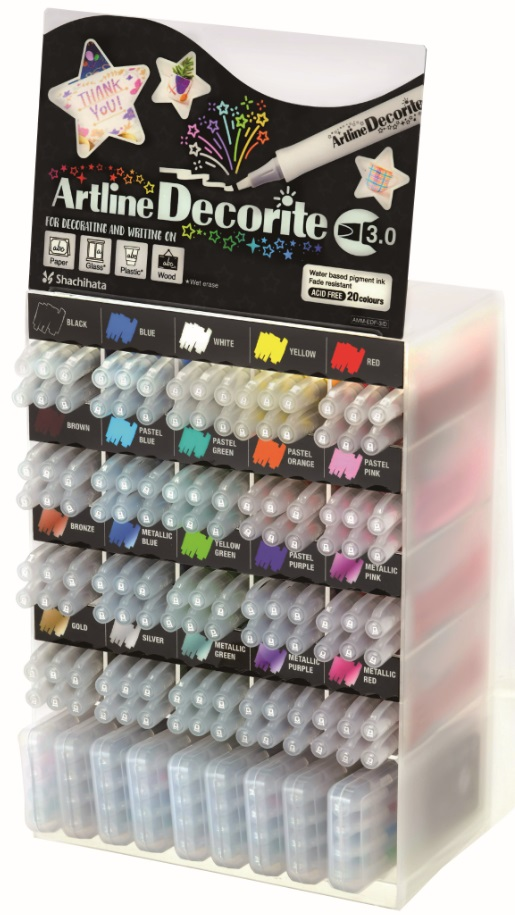 Display Artline Decorite 3mm, 20 cul x 6 buc   9set x 4 buc/display - diverse culori