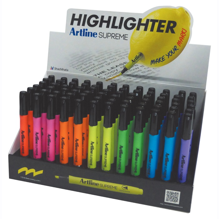 Display Artline textmarker Supreme 1-4mm, 5 cul x 12 buc   2 cul x 6 buc/display - diverse culori