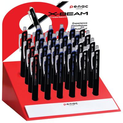 Display pixuri Penac X-Beam, rubber grip, clema metalica, 0.7mm, 24 buc/display - culori asortate