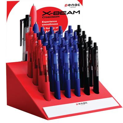 Display pixuri Penac X-Beam, rubber grip, clema plastic, 0.7mm, 24 buc/display - culori asortate