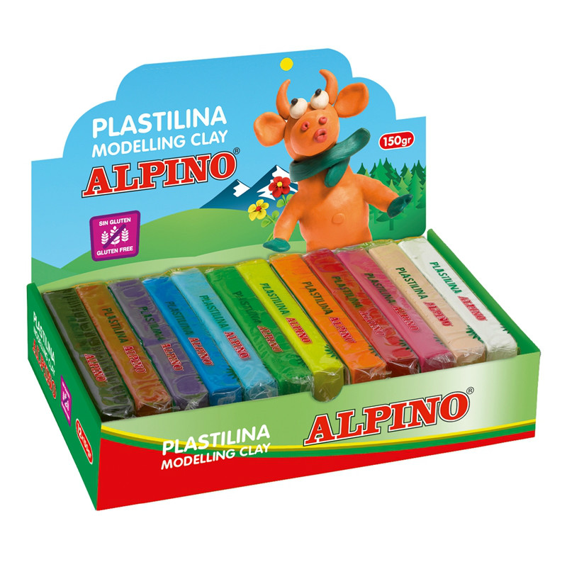 Display plastilina standard, 12 x 150gr./display, ALPINO - 12 culori asortate
