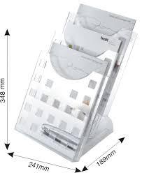 Display modular de birou, 3 x A4, pentru pliante, HELIT - transparent cristal