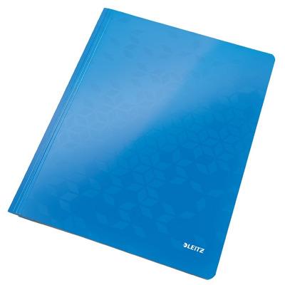 Dosar carton cu sina Leitz Wow, capacitate 250 coli - albastru metalizat
