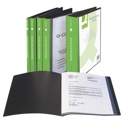 Dosar de prezentare personalizabil, cu 100 folii, A4, coperta rigida, Q-Connect - negru