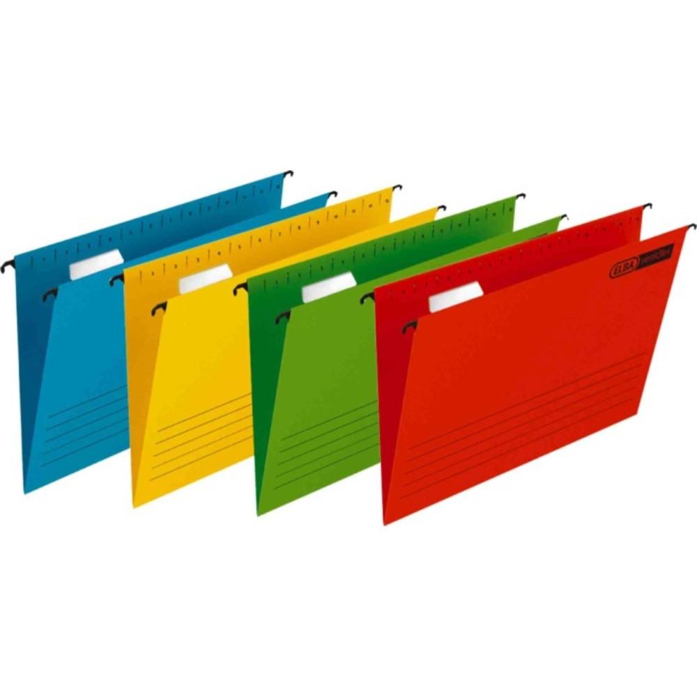 Dosar suspendabil cu eticheta, bagheta metalica, carton 230g/mp, 25 buc/cutie, Verticflex - rosu