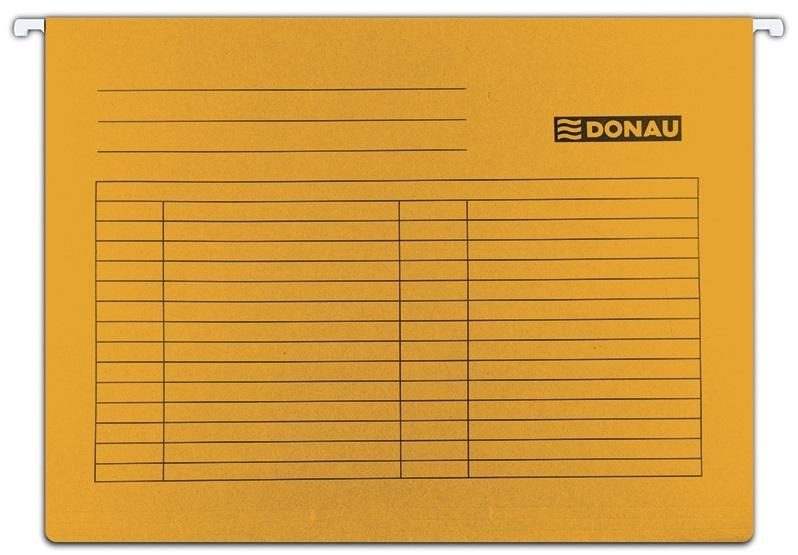 Dosar suspendabil cu eticheta, bagheta metalica, carton 230g/mp, 5 buc/set, Donau - orange