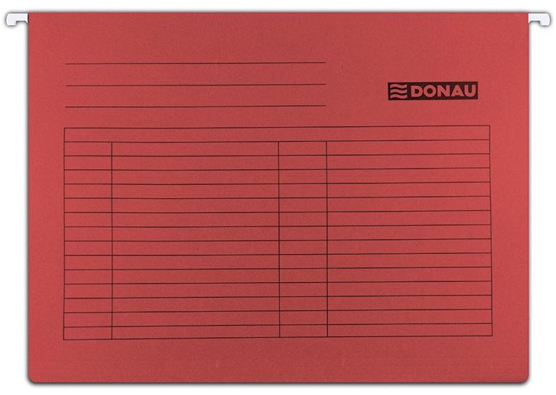 Dosar suspendabil cu eticheta, bagheta metalica, carton 230g/mp, 5 buc/set, Donau - rosu