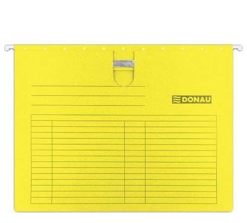Dosar suspendabil cu sina, carton 230g/mp, bagheta metalica, 5 buc/set, DONAU - galben