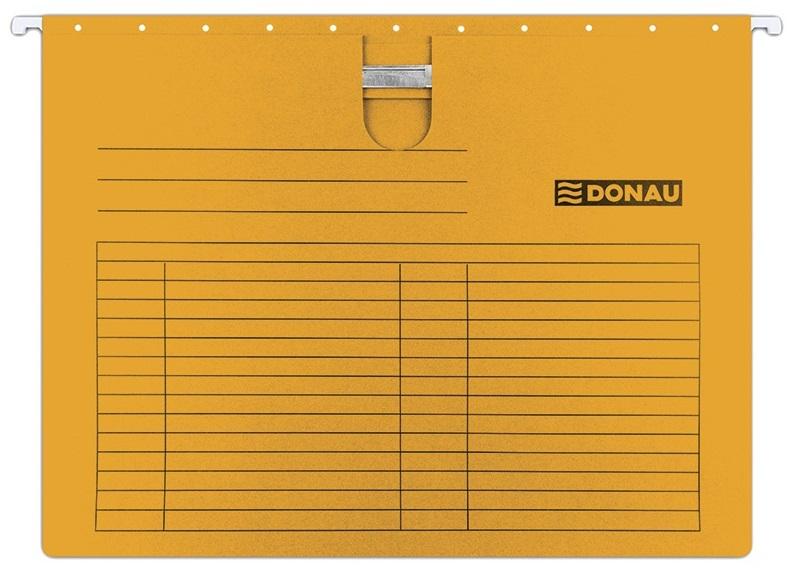 Dosar suspendabil cu sina, carton 230g/mp, bagheta metalica, 5 buc/set, Donau - orange