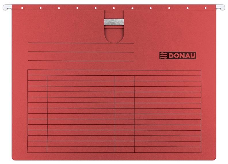 Dosar suspendabil cu sina, carton 230g/mp, bagheta metalica, 5 buc/set, Donau - rosu