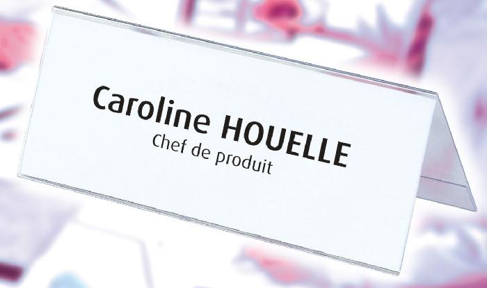 Display nume, pentru birou, 60 x 250 mm, Elba - plastic transparent