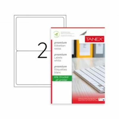 Etichete albe autoadezive, repozitionabile, 2/A4, 199.6 x 143.5mm, 25 coli/top, Tanex-colturi rotunjite
