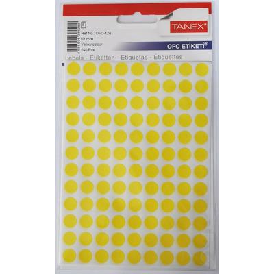 Etichete autoadezive color, D10 mm, 540 buc/set, Tanex- galben