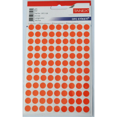 Etichete autoadezive color, D10 mm, 540 buc/set, Tanex - orange