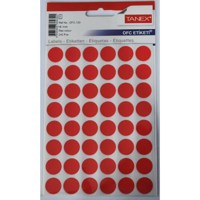 Etichete autoadezive color, D16 mm, 240 buc/set, Tanex - rosu