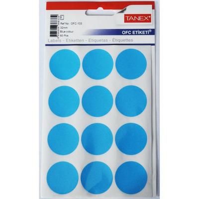 Etichete autoadezive color, D32 mm, 60 buc/set, Tanex - albastru