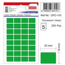 Etichete autoadezive color - verde fluorescent, 16 x 22 mm, 160 buc/set, Tanex