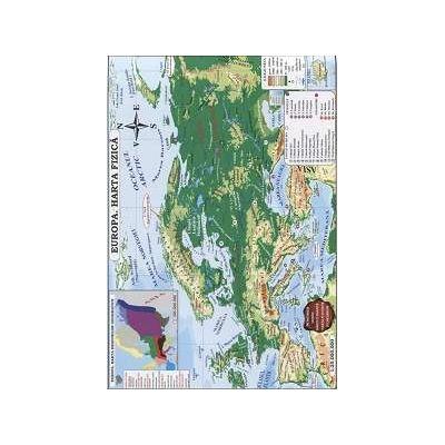 Europa. Harta fizica si harta politica - Contine harti climatice, harta fluviilor si lacurilor (Conform programei scolare in vigoare)