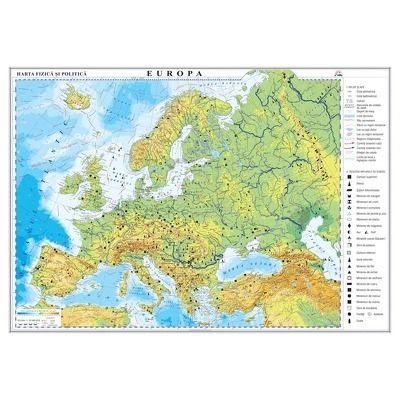 Europa. Harta fizica si politica 1000x700mm, fara sipci