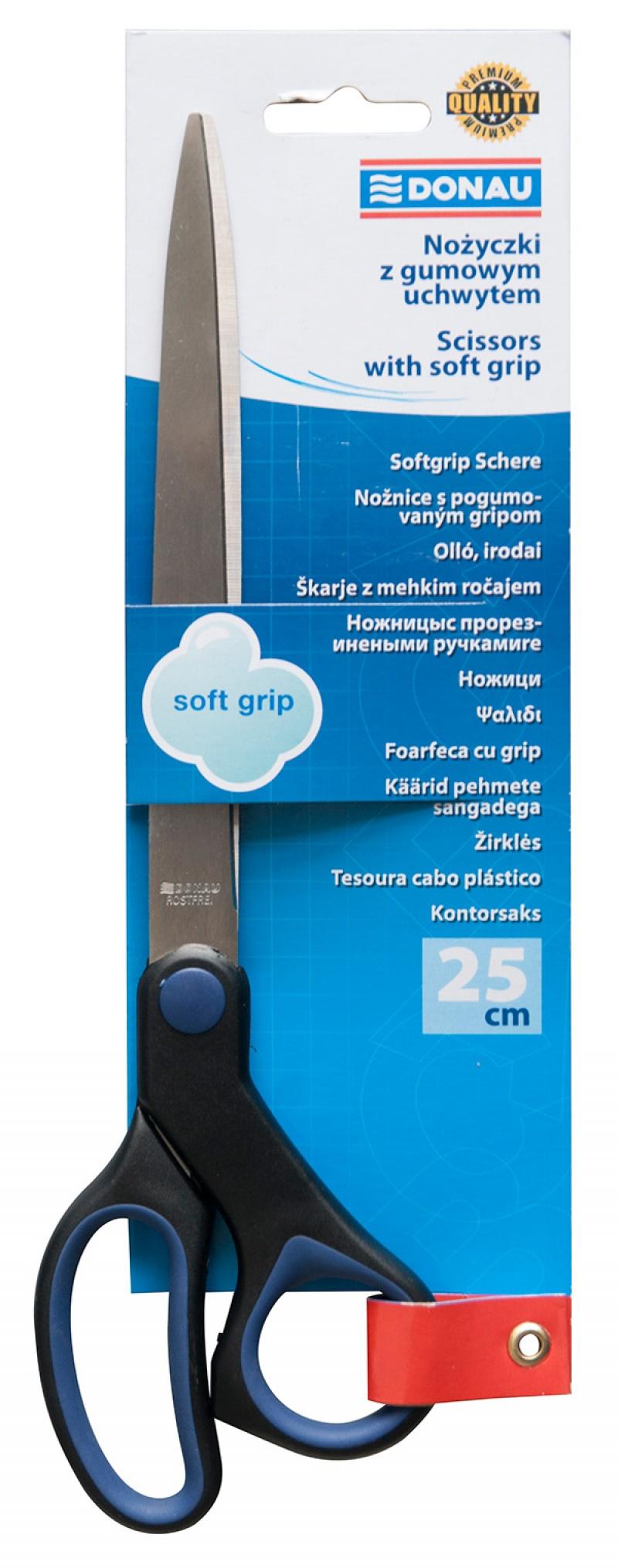Foarfeca otel, ergonomica, 25cm, cu rubber grip, maner albastru, Donau