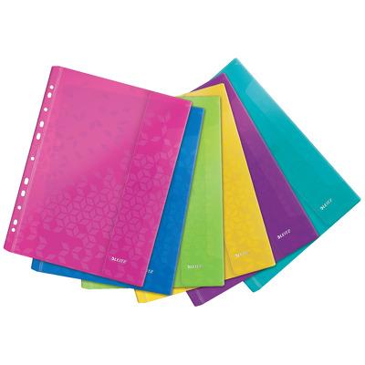 Folie protectie color Leitz Wow cu arici, 6 buc/set - diverse culori