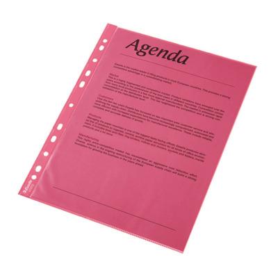 Folie protectie color pentru documente, 10 folii/set, Esselte - rosu transparent