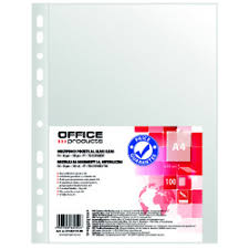 Folie protectie pentru documente A4, 30 microni, 100folii/set, Office Products - cristal
