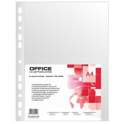 Folie protectie pentru documente A4, 50 microni, 100folii/set, Office Products - cristal