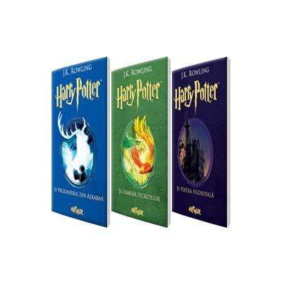 Harry Potter de J. K. Rowling - Set de trei volume. Harry Potter si piatra filosofala, Camera secretelor si prizonierul din Azkaban