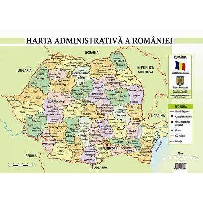 Harta administrativa a Romaniei - Plansa format A4