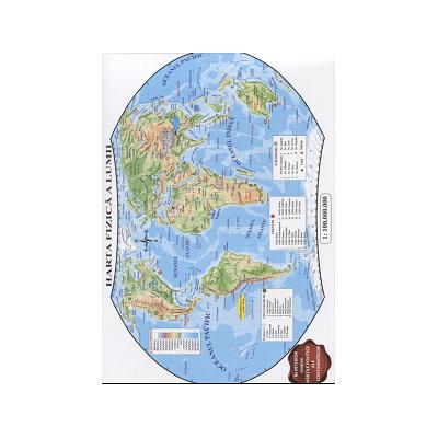 Harta fizica a lumii - Contine hartile politice ale continentelor (Conform programei scolare in vigoare)