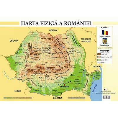 Harta fizica a Romaniei - Plansa format A4