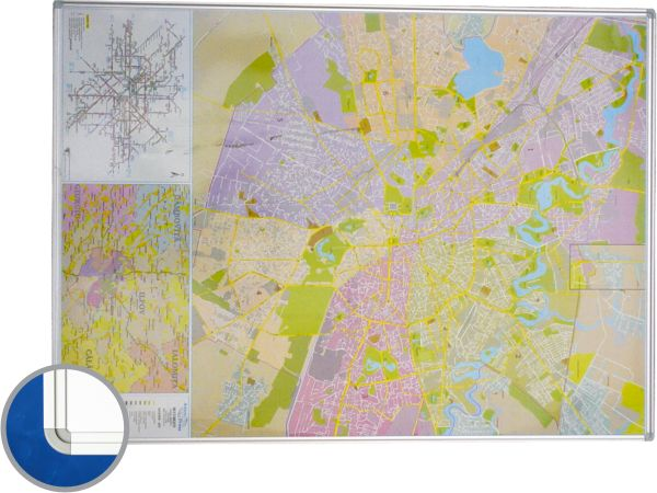 Harta Bucuresti (rutiera+administrativa) 100 x 140 cm, profil aluminiu RC