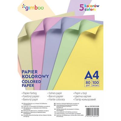 Hartie color, 80g/mp, 100 (5 x 20) coli/top - culori pastel asortate