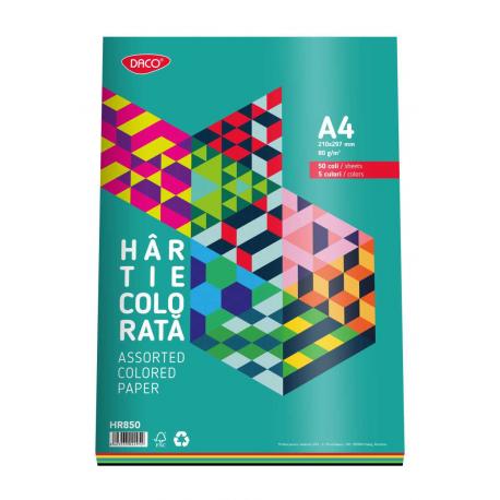 Hartie colorata 5 culori A4, 50 coli 80g/mp, Daco