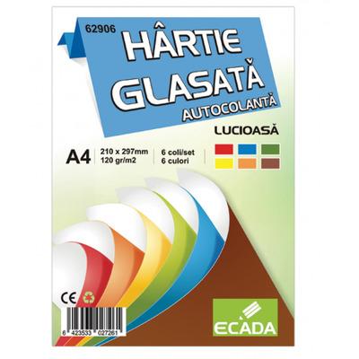 Hartie glasata A4 autocolanta 6 file/set