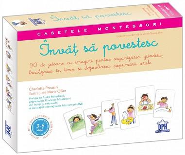 Invat sa povestesc - 90 de jetoane cu imagini pentru organizarea gandirii, localizarea in timp si dezvoltarea exprimarii orale (Casetele Montessori)