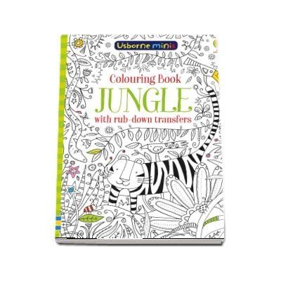 Jungle colouring book with rub-down transfers
