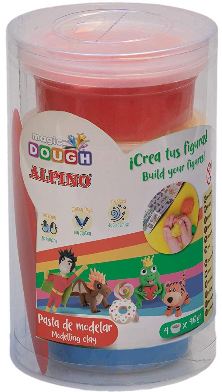Kit 4 culori x 40gr plastilina magica, 160 grame, ALPINO - galben, rosu, albastru, verde