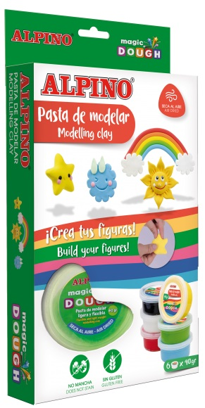 Kit 6 culori x 40gr plastilina magica, ALPINO Day & Night