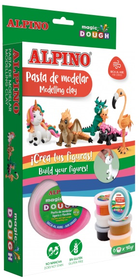 Kit 6 culori x 40gr plastilina magica, ALPINO Fantasy Animals