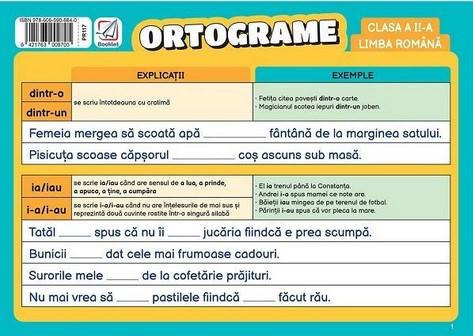 Limba romana, clasa a II-a. Pliant ortograme