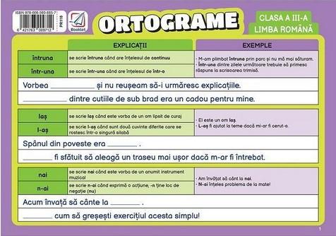 Limba romana, clasa a III-a. Pliant ortograme