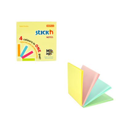 Magic notes autoadeziv 76 x  76 mm, 100 file, Stick Magic Notes - 4 culori pastel